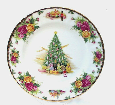 """Royal Albert Old Country Roses Christmas Magic 8"""" Salad Plates NEW NEVER USED"""