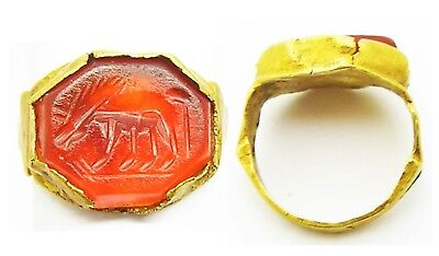 3rd century A.D. Roman Equestrian Gold Intaglio Ring of a Grazing Horse