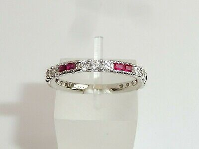 Ladies Art Deco Style 925 Sterling Silver White Sapphire Red Ruby Eternity Ring
