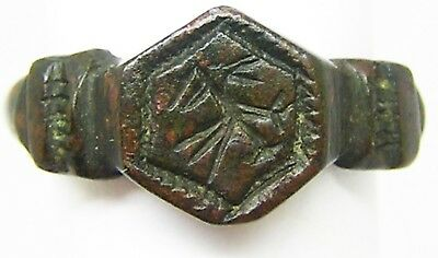 Nice 14th - 15th century Medieval Bronze Signet Ring Hawk or Eagle Size 10 1/4