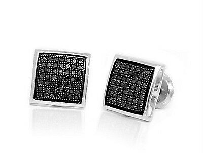 e9a5c9751 Sterling Silver Black Diamond Earrings Micro-Pave Dome Screw Back Studs  .33ct NR
