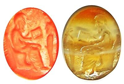 2nd century B.C. Ancient Hellenistic Greek Agate Intaglio Philosopher & Herma