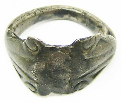3rd century A.D. Nice Excavated Roman Silver Finger Ring Keeled Type Size 7