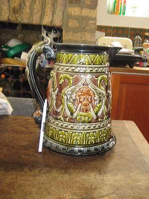 Antique Jug Rorstrand Majolica Dragons & Lion Heads Gothic