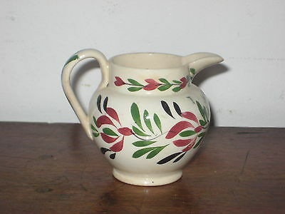 Antique Pottery Cream Jug Painted Folk Art Flower Design Pos Welsh