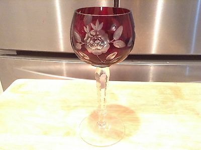 "Red Ruby Bohemian Etched Floral 7 1/4"" Tall Wine Goblet Clear Stem Excellent"