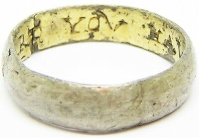 "17th century A.D. Jacobean Silver Gilt Posy Ring ""MI HART YOU HAVE"" Size 9 3/4"