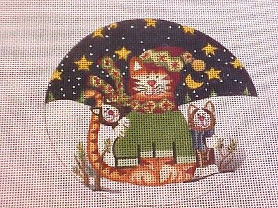 Needlepoint Canvas Hand Stitch Painted Danji Three Cats Celebrating Christmas