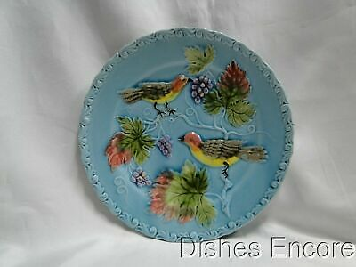 """Zell German Majolica Birds & Grapes 230, Blue: Salad Plate (s), 7 5/8"""", As Is"""