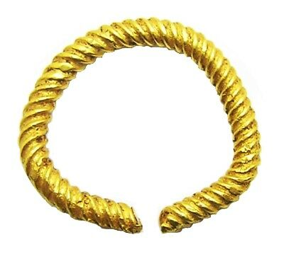 c. 1300 - 1100 B.C. Bronze Age Gold Penannular Ring Bar Twisted Design Size 7