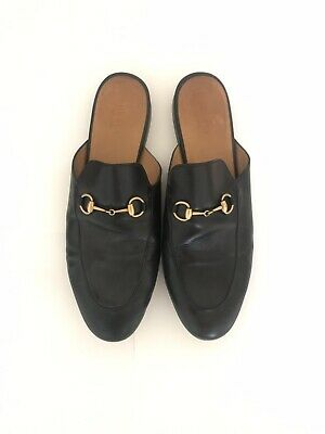 d0e85368594 GUCCI SOLID BLACK Leather Dress Half strap Nib Loafers Italy US 8.5 ...