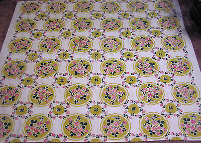Vintage Tablecloth Repeating Red Clover Green Leaves in Medallions 1940s Cotton