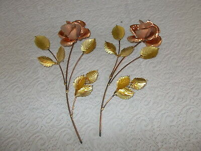 2 Homco Home Interiors Metal Leaf Flower Wall Decor Copper