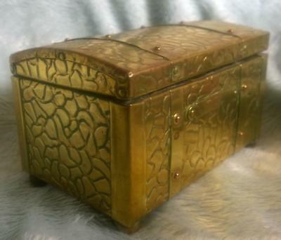 Vintage wood, tin lined, brass outer Tea Caddy / Storage Box 'Treasure' Chest