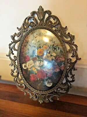 Vintage FLORAL Picture Ornate Oval Metal brass Frame CONVEX bubble glass