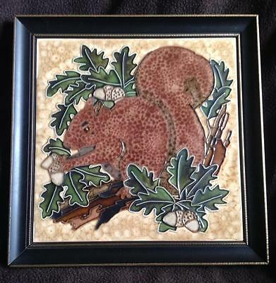 Squirrel ceramic tile picture Vintage reproduction Hand Majolica Painting Maw&Co