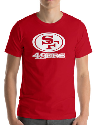 SAN FRANCISCO 49ERS RED T-Shirt WHITE Graphic Cotton Adult Logo  S-2XL