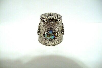 Thimble Textured Pewter W/4 Abalone Maple Leaves In Hi-Relief