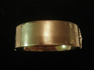Lovely Antique Art Deco; Glittering Machine Engraved 9CT Gold Metal Core Bangle
