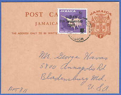 """T872 - JAMAICA 1964 uprated 1c Independence postal card + 4c Shell """"C-Day"""" stamp"""