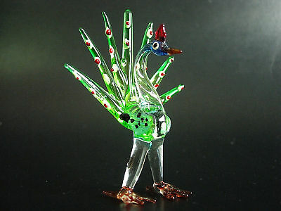 Glass PEACOCK, Colourful Glass Ornament, Bird, Glassware Figure, Painted Animal