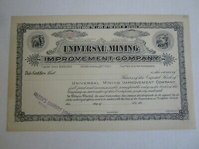 Old c.1900 - Universal Mining Improvement Co. STOCK CERTIFICATE - Goldfield NV.