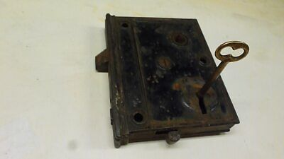 Antique Vintage Iron Mortise Lock Works With Key