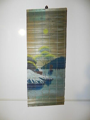 Vintage Wall hanging. Cabin by lake.. Colorful. Painted small wooden slats