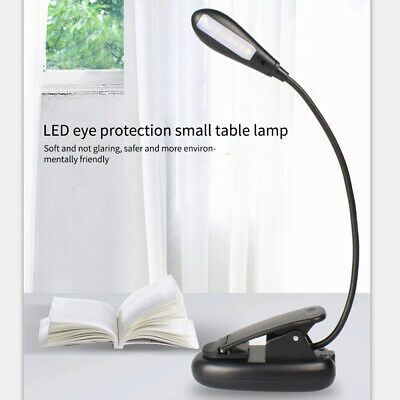 Flexible Neck Light Clip on USB 4 LED Book Lamp Reading Rechargeable USB M5C8D