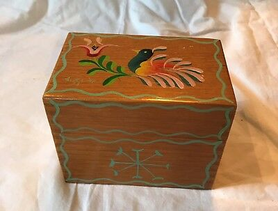 Charming Vintage Hand Crafted Wood Recipe Box Hand Painted Signed G. Kline '73