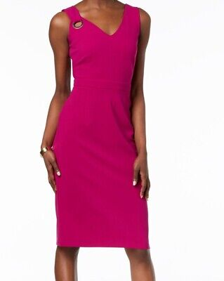 b9b7f814 Ivanka Trump NEW Pink Women's Size 14 V-Neck Grommet Sheath Dress $128 #034