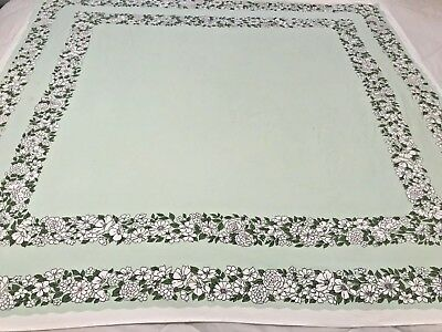 "Vintage Table Cloth Mint Green White Sweet Spring Floral Cotton 47"" x 51"" T3"