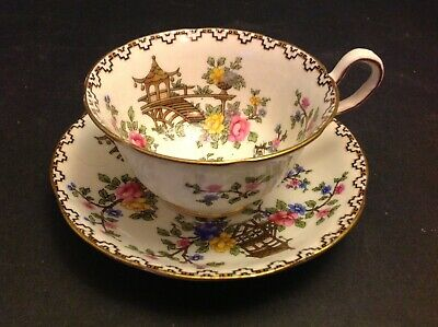 Aynsley Bone China England Cup & Saucer Oriental Motifs Indian Tree House