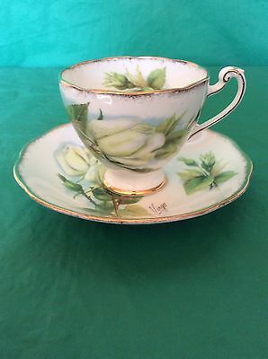 Roslyn China Wheatcroft Series White Rose #3 Signed Virgo Cup & Saucer