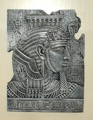 Ancient Egyptian King Tut Mask Wall Relief Sculpture Fragment