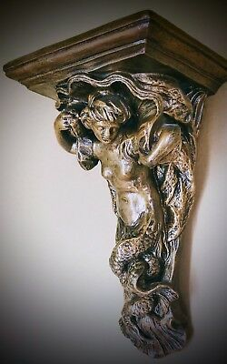Vintage Rare Handmade Huge Mermaid Bracket Wall Sculpture Sconce