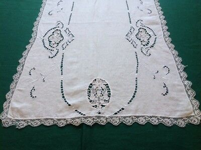 """Vtg White Linen Madeira Table Runner W/Embroidery/Cut-Work/ Lace 54"""" X 16""""#13"""