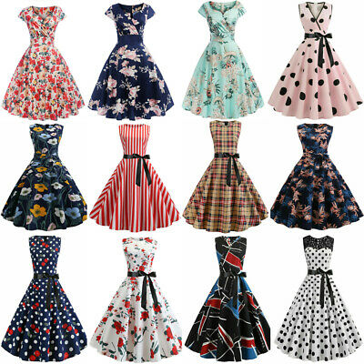 Womens 50s 60s Vintage Rockabilly Floral Skull Housewife Hepburn Swing Dresses