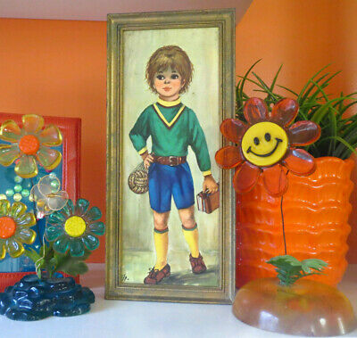VTG 1960s Retro MOD Groovy Big Eye Kids Wall Art Print Boy Oxford School Books