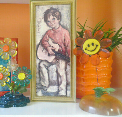 VTG 1960s Retro MOD Groovy Big Eye Kids Wall Art Print Panel Boy Guitar Music