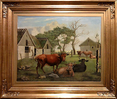 COWHERD RESTING in FRONT of BARN. Large, fine oil painting