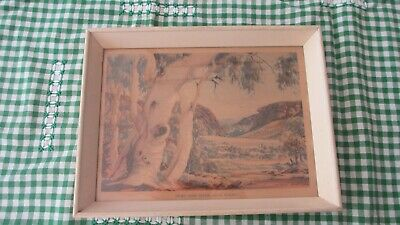 "Vintage Albert Namatjira Box Framed Print under Glass ""Gums the Todd River"""