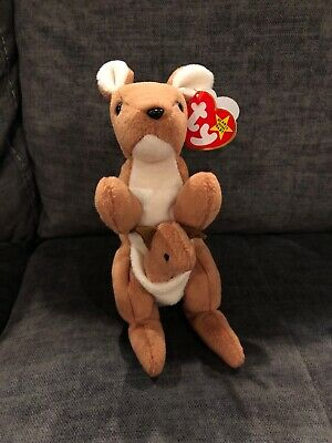b08c6d1d1b1 TY BEANIE BABY Pouch Kangaroo W Baby New Rare Original Collectable ...