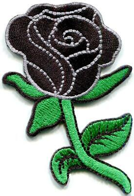 Black rose flower tattoo diy embroidered applique iron-on patch S-1613