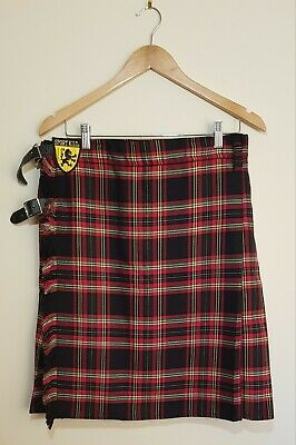 Sport Kilt Men's The Works Kilt Leather Straps Red & Black Tartan Size L Nwot
