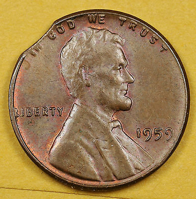 1959 Lincoln Head Cent.  Clipped Planchet.  95951