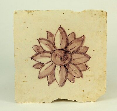 ! Antique 17th c. Dutch DELFT Hand Painted Mulberry Faience Tile w. Rosette 5.5""