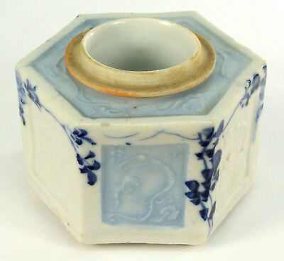 ! Antique Japanese Hirado Ware FINE Blue & White Porcelain Calligraphy Inkwell