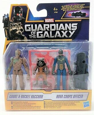 Guardians of the Galaxy Groot Rocket Raccoon Nova Corps Officer Figure Pack Toy