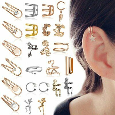 Vintage Leaf Ear Clip On Cuff Wrap Stud Hoop Non Piercing Cartilage Earrings Hot